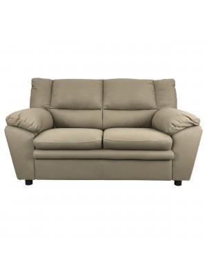 Vista frontale di un divano 2 posti imbottito e rivestito in ecopelle effetto nabuk tortora taupe Totò Piccinni