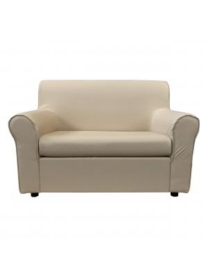 Fronte di un divano 2 posti imbottito con braccioli artigianale in ecopelle Beige Totò Piccinni