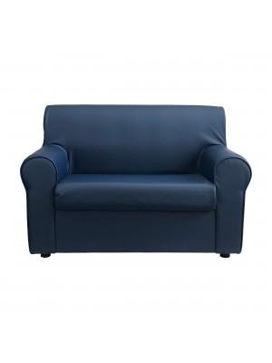 Fronte di un divano 2 posti imbottito con braccioli artigianale in ecopelle Blu Scuro Totò Piccinni