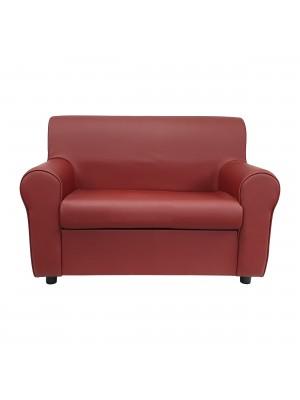 Fronte di un divano 2 posti imbottito con braccioli artigianale in ecopelle Bordeaux Totò Piccinni