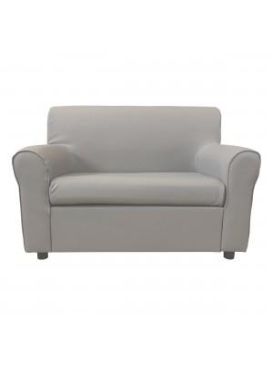 Fronte di un divano 2 posti imbottito con braccioli artigianale in ecopelle Grigio Totò Piccinni