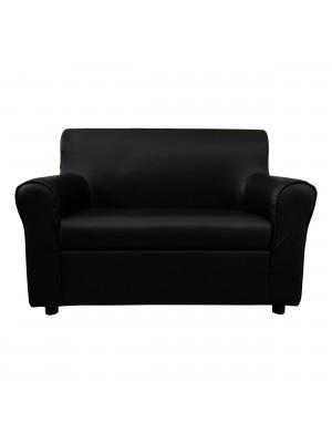 Fronte di un divano 2 posti imbottito con braccioli artigianale in ecopelle Nero Totò Piccinni