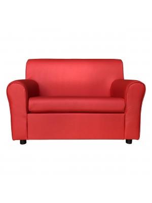 Fronte di un divano 2 posti imbottito con braccioli artigianale in ecopelle Rosso Totò Piccinni