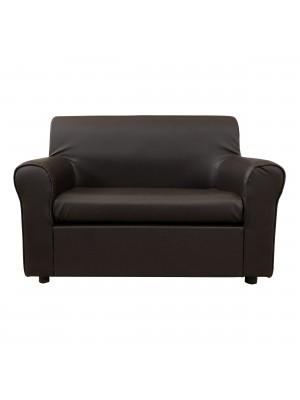 Fronte di un divano 2 posti imbottito con braccioli artigianale in ecopelle Testa di Moro Totò Piccinni