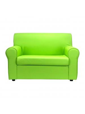 Fronte di un divano 2 posti imbottito con braccioli artigianale in ecopelle Verde Mele Totò Piccinni
