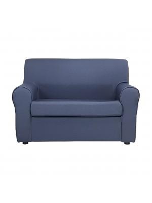 Fronte di un divano 2 posti imbottito con braccioli artigianale in tessuto blu Totò Piccinni