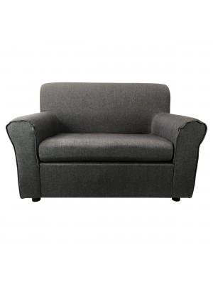 Fronte di un divano 2 posti imbottito con braccioli artigianale in tessuto Grigio Totò Piccinni