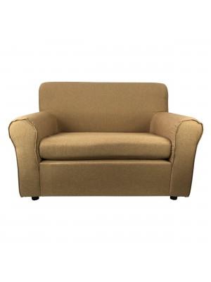 Fronte di un divano 2 posti imbottito con braccioli artigianale in tessuto Sabbia Totò Piccinni