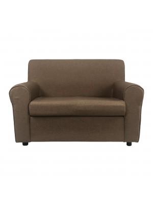 Fronte di un divano 2 posti imbottito con braccioli artigianale in tessuto Trufa Totò Piccinni