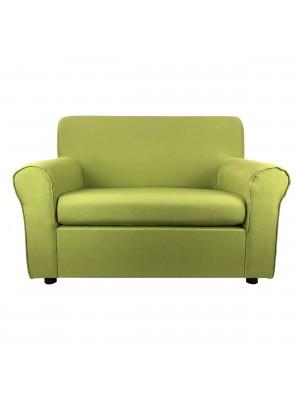 Fronte di un divano 2 posti imbottito con braccioli artigianale in tessuto Verde Mela Totò Piccinni