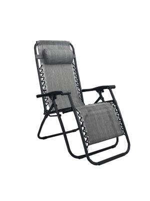 Sedia a sdraio Gravity gravità zero reclinabile e pieghevole adatta ad ambienti esterni in robusto acciaio e resistente textilene lavabile colore grigio