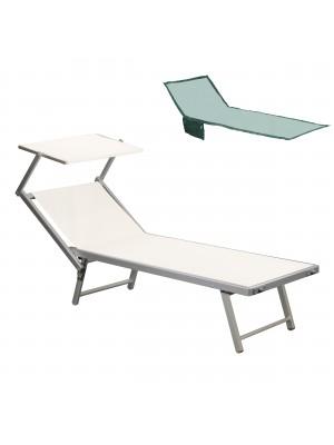 Lettino prendisole da mare spiaggia piscina in alluminio con tettuccio regolabile e telo asciugamano in regalo salento bianco Totò Piccinni