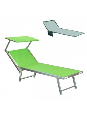 Lettino prendisole da mare spiaggia piscina in alluminio con tettuccio regolabile e telo asciugamano in regalo salento verde Totò Piccinni