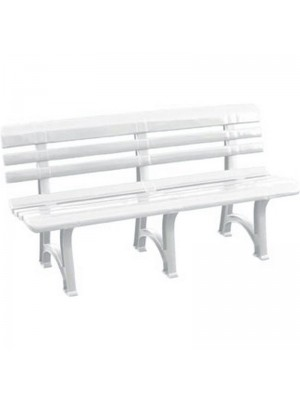 Panca Panchina Olimpia in Plastica Polipropilene per Esterno Giardino Terrazzo 150 (L) x 53 (P) x 73 (A) (Bianco)