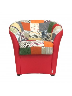 Poltrona a POZZETTO Ecopelle, Made in Italy (Patchwork Rosso)
