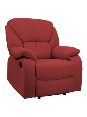 Vista di una robusta poltrona imbottita relax con schienale e poggiapiedi reclinabili in tessuto rosso bordeaux Calipso Totò Piccinni