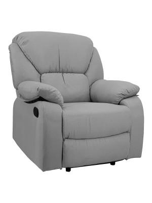Vista di una robusta poltrona imbottita relax con schienale e poggiapiedi reclinabili in tessuto grigio chiaro Calipso Totò Piccinni