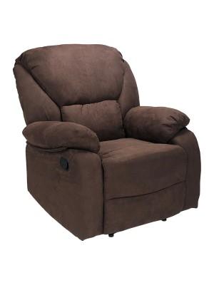 Vista di una robusta poltrona imbottita relax con schienale e poggiapiedi reclinabili in tessuto marrone Calipso Totò Piccinni