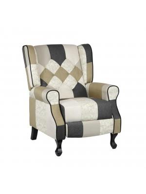 Poltrona Relax Reclinabile con Poggiapiedi Imbottita (Patchwork Elegant, Comfort)