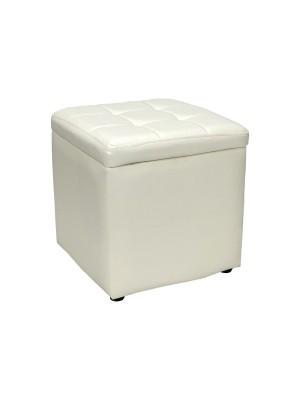 Vista diagonale di un pouf grande imbottito con contenitore in ecopelle bianco chiuso Totò Piccinni