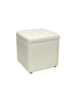 Vista diagonale di un pouf piccolo imbottito con contentitore in ecopelle bianco chiuso Totò Piccinni