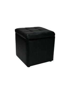 Vista diagonale di un pouf piccolo imbottito con contentitore in ecopelle nero chiuso Totò Piccinni