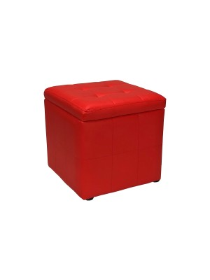 Vista diagonale di un pouf piccolo imbottito con contentitore in ecopelle rosso chiuso Totò Piccinni
