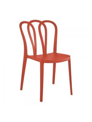Sedie di design moderno flower schienale a fiore in robusto PP polipropilene rosso arancione