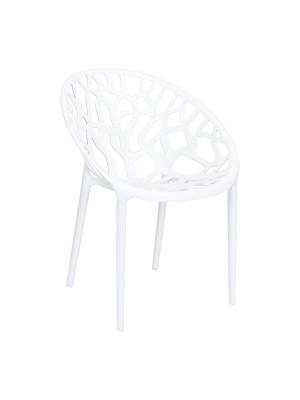 Sedia Poltroncina Jungle in Polipropilene Moderna Design Impilabile (Bianco)