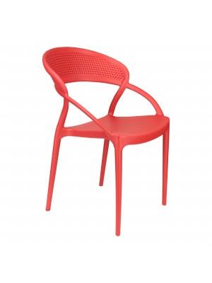 Sedia Eternity in Polipropilene Moderna Design Impilabile (Rosso)