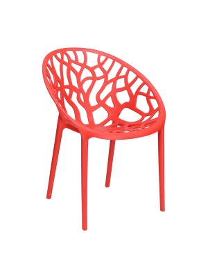Sedia Poltroncina Jungle in Polipropilene Moderna Design Impilabile (Rosso)