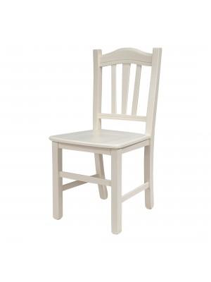 Vista diagonale di una sedia legno paesana Silvana artigianale colore avorio Totò Piccinni
