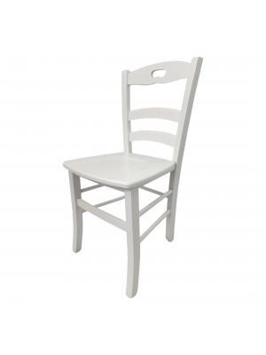 Vista diagonale di una sedia legno paesana Loire artigianale colore bianco laccato Totò Piccinni