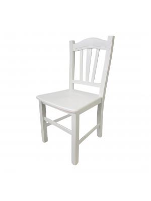 Vista diagonale di una sedia legno paesana Silvana artigianale colore Bianco laccato  Totò Piccinni