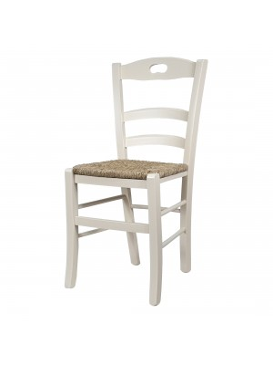 Vista diagonale di una sedia legno paesana Loire artigianale colore avorio Totò Piccinni
