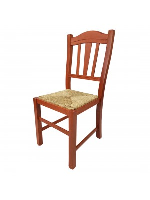 Vista diagonale di una sedia legno paesana Silvana artigianale colore ciliegio Totò Piccinni