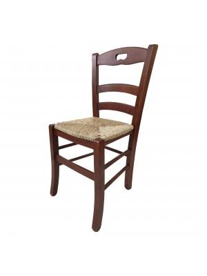 Vista diagonale di una sedia legno paesana Loire artigianale colore Noce Totò Piccinni