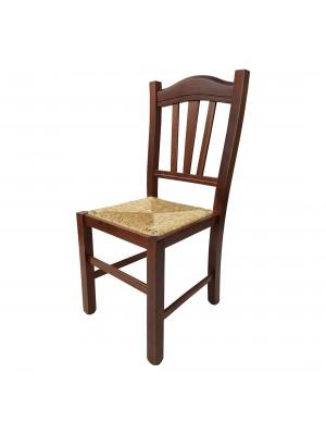Vista diagonale di una sedia legno paesana Silvana artigianale colore noce Totò Piccinni