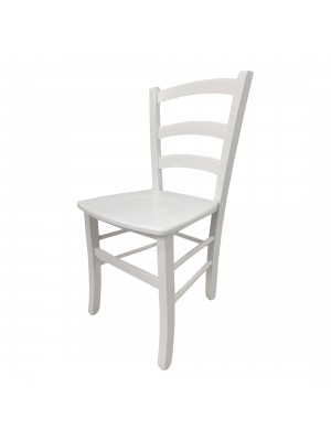 Vista diagonale di una sedia legno paesana Venezia artigianale colore bianco laccato Totò Piccinni