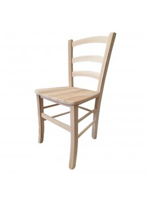 Vista diagonale di una sedia legno paesana Venezia artigianale colore grezzo Totò Piccinni