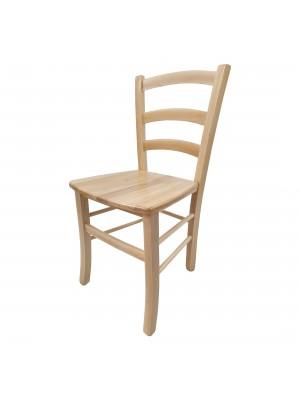 Vista diagonale di una sedia legno paesana Venezia artigianale colore naturale Totò Piccinni