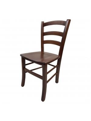 Vista diagonale di una sedia legno paesana Venezia artigianale colore Noce Totò Piccinni