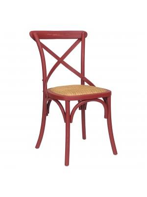Vista diagonale di una sedia legno Cross artigianale colore rosso antico Totò Piccinni