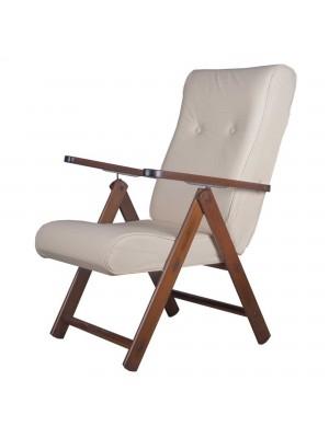 Sedia a sdraio reclinabile in legno abete faggio e resistente cuscino imbottito ecopelle facilmente ripiegabile beige Molisana Totò Piccinni