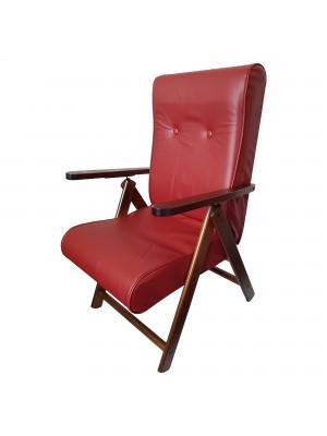 Sedia a sdraio reclinabile in legno abete faggio e resistente cuscino imbottito ecopelle facilmente ripiegabile bordeaux Molisana Totò Piccinni