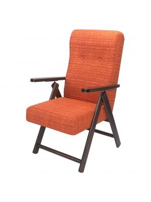 Sedia a sdraio reclinabile in legno abete faggio e resistente cuscino imbottito 100% cotone facilmente ripiegabile arancione mèlange Molisana Totò Piccinni