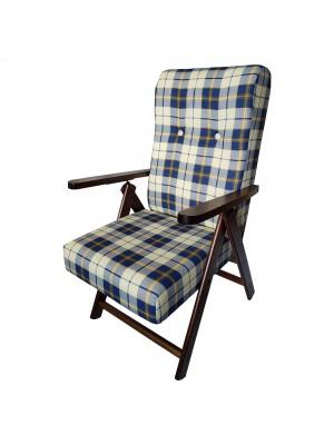 Sedia a sdraio reclinabile in legno abete faggio e resistente cuscino imbottito 100% cotone facilmente ripiegabile Totò Piccinni
