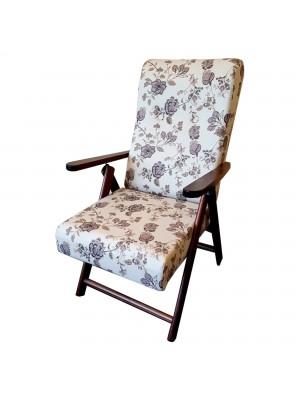 Sedia a sdraio reclinabile in legno abete faggio e resistente cuscino imbottito 100% cotone facilmente ripiegabile grigio floreale Molisana Totò Piccinni