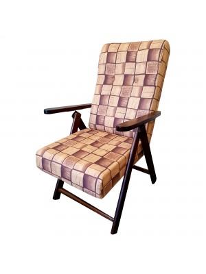 Sedia a sdraio reclinabile in legno abete faggio e resistente cuscino imbottito 100% cotone facilmente ripiegabile marrone Totò Piccinni