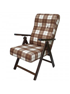 Sedia a sdraio reclinabile in legno abete faggio e resistente cuscino imbottito 100% cotone facilmente ripiegabile marrone scacchi Molisana Totò Piccinni